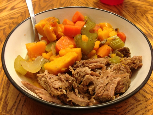 bowl of roast and vegetables