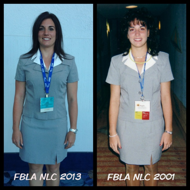 In honor of #tbt, I wanted to recreate an FBLA pic from 2001. Same outfit, just 12 years later. Thanks to making healthier decisions the same clothes still fit!