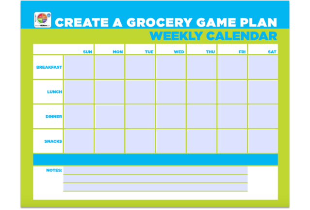 Create a Grocery Game Plan Weekly Calendar